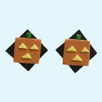 Halloween Jack-O-Lantern Pumpkin Earrings For Pierced Ears