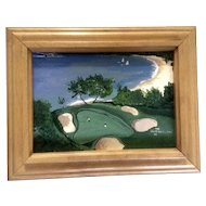Makena Golf Course Hole 16, Maui Hawaii, Small Acrylic Painting on Canvas Board, Signed by Artist
