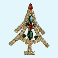 Sparkle Multicolored Rhinestone Christmas Tree Gold-tone Pin Brooch