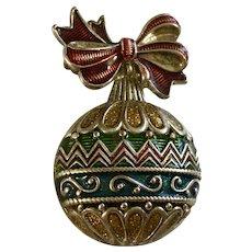 NR Christmas Tree Silver-tone Bulb Ornament Pin Brooch