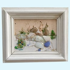 Eclectic Abstract Landscape or Russian Town Enamel and Glass on Copper