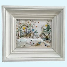 Eclectic Abstract Landscape Mixed Media Painting From Russia