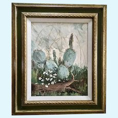 Ann Carlyon, Cactus Landscape Oil Painting Signed by Texas Artist 1969