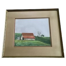 D Sheets, Old Barn Landscape Watercolor Painting