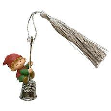 Hallmark Elf on A Thimble Bell Christmas Ornament 1980