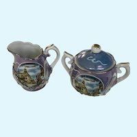 Dragonware Purple Lusterware Cream and Sugar Moriage Dragons Japan Souvenir