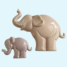Pink Elephant Enesco Ceramic Wall Plaques 1985 Japan