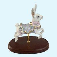 Lenox Carousel Bunny Rabbit Pink Ribbon Hare Figurine