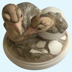 Ostrich Bird Hatchlings Figurine William (Bill) Joseph Kazmar Artist Signed