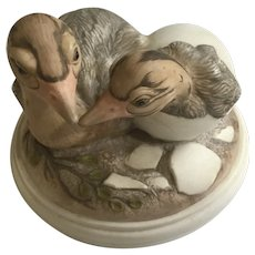 Ostrich Bird Hatchlings Figurine William (Bill) Joseph Kazmar Artist Signed