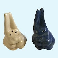 Vintage Blue & Cream Bunny Rabbit Salt & Pepper Shakers