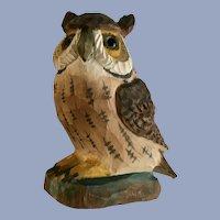 Witty Owl Wood Carved Bird Folk Art Figurine