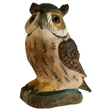 Witty Owl Wood Carved Bird Folk Art Figurine