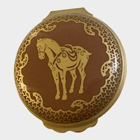 1990 Halcyon Days Enamels Trinket Box Year of The Horse Zodiac Sign