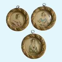 Vintage Miniature Victorian Ladies Embellished Convex Glass Wall Art Prints