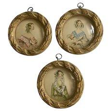 Vintage Miniature Victorian Ladies Embellished Convex Glass Wall Art Prints