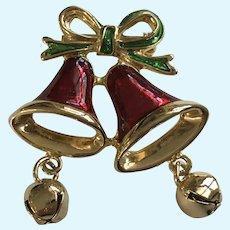 Christmas Bells Shiny Red Enamel Gold-tone Pin Brooch