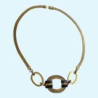 Vivid Gold-tone Circle Loop Choker Necklace
