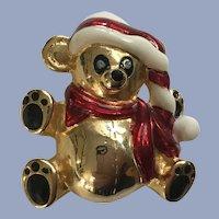 Gold-tone Christmas Bear with Santa Hat Pin Brooch