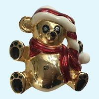 Gold-tone Christmas Bear with Santa Hat Pin Brooch