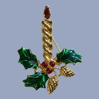 Gold-tone Christmas Candle with Holly Pinecones Pin Brooch