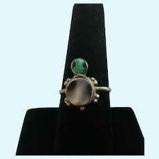 Cute Cabochons and Shell Turtle Ring