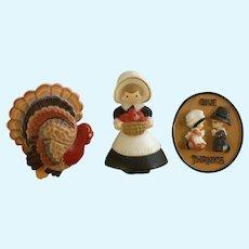Hallmark Autumn Thanksgiving Turkey Pilgrims Plastic Pin Brooches