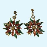 Christmas Poinsettia Gold-tone Pierced Earrings