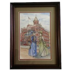 Kristi, Strater Hotel Durango Colorado Two Ladies in Victorian Dresses and Parasols, Watercolor Painting Works on Paper signed by Artist