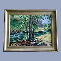Rosemary Scheuering, Deer in Estes Park Colorado Landscape Oil Painting