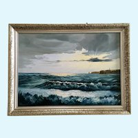 W. Reimann Illuminating Seascape Lighthouse Oil Painting