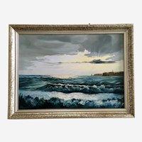 W. Reimann Illuminating Seascape Lighthouse Oil Painting