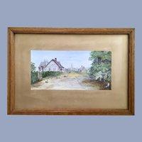 Antique Church Landscape Watercolor Painting