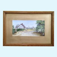 Antique Church Landscape Watercolor Painting