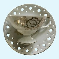 Lipper & Mann Creations Pierced Cup & Saucer Golden Roses Japan