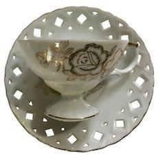 Lipper & Mann Creations Pierced Cup & Saucer Golden Roses Japan