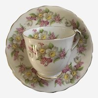 Tuscan Demitasse Teacup & Saucer Pink Flowers Bone China England