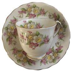 Tuscan Demitasse Teacup & Saucer Pink Flowers Bone China England