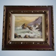 Maret, Oil Painting, Coastal View of Waves Crashing on the Rocky Shore, Signed by the Artist, Painted on Canvas Board