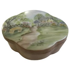 Beautiful Hand Painted Landscape Trinket Box Signed By Artist
