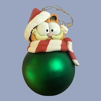 Christmas Garfield Cat Possible Dreams Glass Large Green Ornament