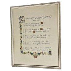 Vintage 10 Commandments in Verse 1940's Print