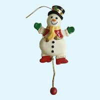 Lenox Pull Snowman Christmas Tree Ceramic Ornament