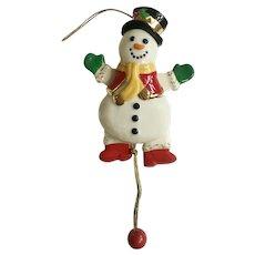 Lenox Pull Snowman Christmas Tree Ceramic Ornament