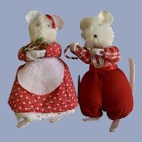 Vintage Christmas Mr. & Mrs. Mouse Set Stuffed Plush Animals