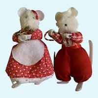 Vintage Christmas Mr. & Mrs. Mouse Set Stuffed Plush Animals