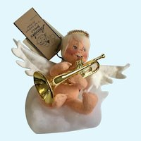 Annalee Christmas Angel Playing Trumpet Stuffed Plush Doll 1995 7""