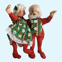 Annalee Mr.& Mrs. Santa Claus Christmas Stuffed Plush Dolls