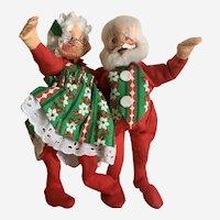 Annalee Mr.& Mrs. Santa Claus Christmas Stuffed Plush Dolls