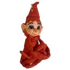 Vintage Kamar Rubber Face Christmas Elf Pixie Stuffed Plush